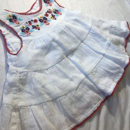 0-1 Month White Sleeveless Dress